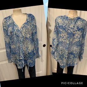 Sundance Catalog silk blue floral top large